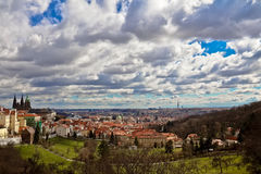 Panorama of Prague. View from hills to old town and St. Vitus Cathedral, Prague, Czech Republic Stock Photo
