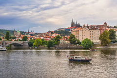 Panorama of Prague with a view of the St. Vitus Cathedral. Royalty Free Stock Photo