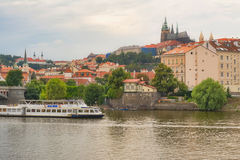 Panorama of Prague with a view of the St. Vitus Cathedral. Stock Photos