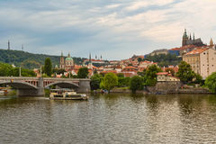 Panorama of Prague with a view of the St. Vitus Cathedral. Stock Images