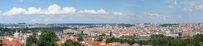 Panorama of Prague with the Vltava. The bridges and the old town royalty free stock images