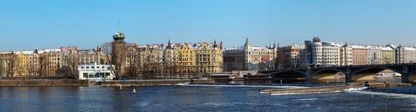 Panorama of Prague waterfront Royalty Free Stock Photo
