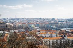 Panorama of Prague. Weather is cloudy royalty free stock photography