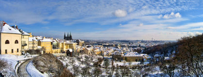 Panorama of Prague in winter Stock Photography