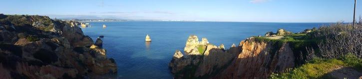 Panorama of Praia do Camilo stock photo