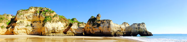 Panorama from praia Tres Irmaos in Alvor Portugal Stock Images