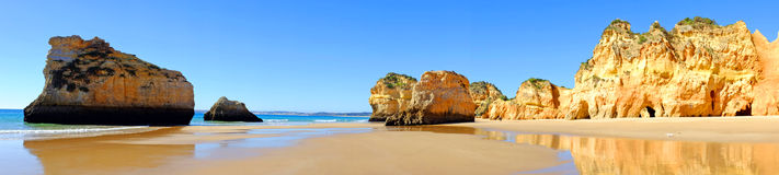 Panorama from praia Tres Irmaos in Alvor Portugal Stock Image