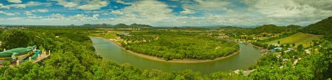 Panorama of pranburi river Royalty Free Stock Photography