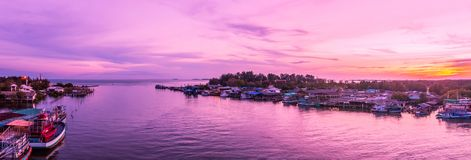 Panorama, Prasae Gulf views at dusk. Prasae a Gulf fishing communities with ancient civilizations. Tourism is one of Rayong province, Thailand Royalty Free Stock Photos