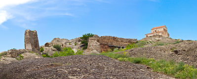 Panorama  Prehistoric ruins of cave-dwelling town Royalty Free Stock Photos