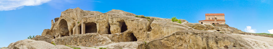 Panorama of Prehistoric ruins of cave-town Royalty Free Stock Photo