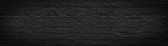 Panorama preto velho da parede de tijolo Imagem de Stock Royalty Free