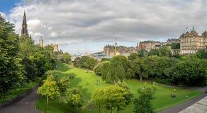 Princes Street gardens, Edinburgh. Panorama of Princes Street gardens and the architectural gems of Edinburgh in beautiful Scotland stock photo