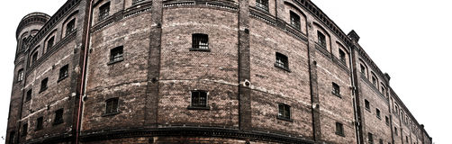 Panorama of brick wall of prison. Panoramic photo of prison in Bytom, Poland royalty free stock images