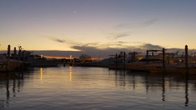 Panorama privato 4k Florida S.U.A. di parcheggio del bacino dell'yacht di Miami di tramonto video d archivio