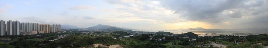 Panorama profondo della baia di Hong Kong Fotografia Stock Libera da Diritti