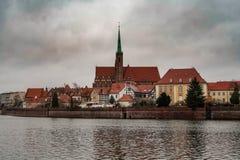 Panorama promenade in Wroclaw stock photo