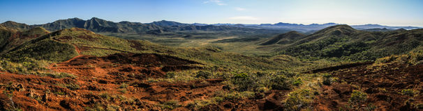 Panorama from the prony wind turbine viewpoint on the mountains and red soil of the South of Grande Terre, New Caledonia Stock Photo