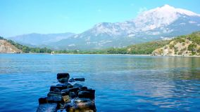 Panorama of Protected Harbor in Phaselis stock footage