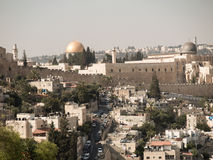 Panorama przegapia Starego miasto Jerozolima, Izrael, includin Obrazy Royalty Free