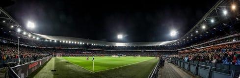 Panorama przegląd De Kuip przy wieczór dopasowaniem zdjęcia royalty free