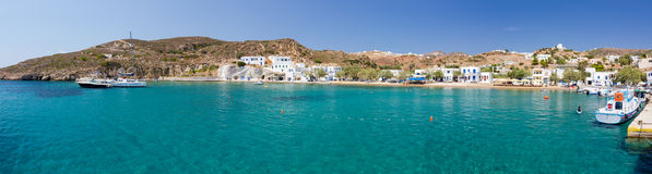 Panorama of Psathi harbor, Kimolos island, Greece Royalty Free Stock Photos