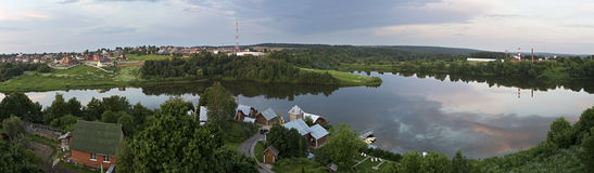 Panorama of Ptitsegradsky pond. Sergiev Posad. Royalty Free Stock Photos