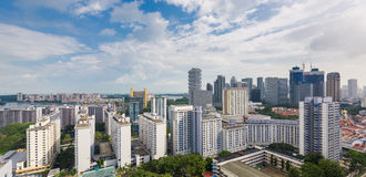Panorama of public and private housing estates in Singapore royalty free stock photography
