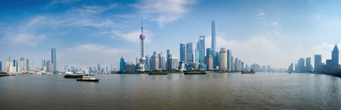 Panorama of Pudong District - Shanghai, China Royalty Free Stock Photography