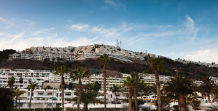 Panorama of Puerto Rico, Gran Canaria. Scenic view of tourist village of Puerto Rico on island of Gran Canaria Stock Images