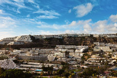 Panorama of Puerto Rico, Gran Canaria. Scenic view of tourist village of Puerto Rico on island of Gran Canaria Royalty Free Stock Image