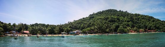 Panorama on Pulau Kecil beautiful coast, Perhentian Islands, Malaysia royalty free stock photography