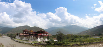 Panorama of Punakha Dzong Stock Photo