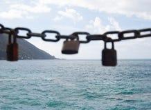 Punta Chiappa with three padlocks royalty free stock photography