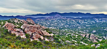 Panorama pustyni des Agriates w Północnym Corsica Zdjęcia Stock