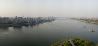 Panorama of Pyongyang. From Taedong River Stock Images