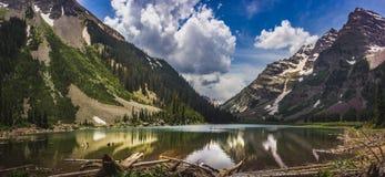 Pyramid Peak, Maroon Bells, and Crater Lake Panorama Stock Image