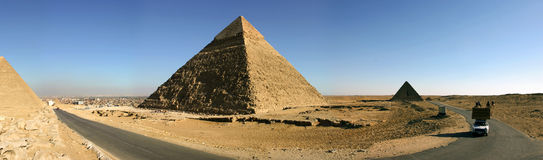Panorama of the pyramids of Giza Royalty Free Stock Photo