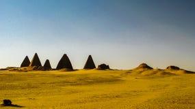 Panorama of Pyramids near Jebel Barkal Karima Napata Nubia, Sudan. Panorama of Pyramids near Jebel Barkal mountain, Karima Napata Nubia, Sudan stock images