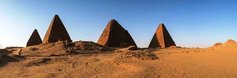 Panorama of Pyramids near Jebel Barkal mountain, Karima Nubia Sudan. Panorama of Pyramids near Jebel Barkal mountain, Karima Napata Nubia, Sudan Stock Photo