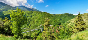 Panorama of Pyrenees with Cassagne Bridge Royalty Free Stock Photo