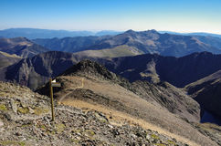 Panorama of the Pyrenees mountains in Andorra, from top of Coma Stock Image