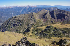 Panorama of the Pyrenees mountains in Andorra, from top of Coma Royalty Free Stock Images