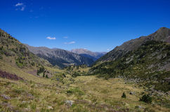 Panorama of the Pyrenees mountains in Andorra, from top of Coma Royalty Free Stock Image
