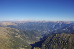 Panorama of the Pyrenees mountains in Andorra, from top of Coma Stock Photography