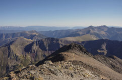 Panorama of the Pyrenees mountains in Andorra, from top of Coma Stock Photo