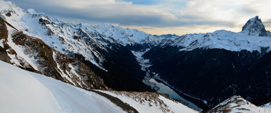 Panorama of Pyrenees mountains with the peak du Midi d'Ossau Royalty Free Stock Photography