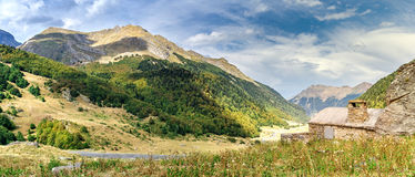 Panorama of Pyrenees. On the way to the pass between France and Spain royalty free stock image