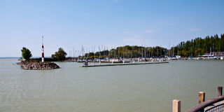Panorama of a quay with boats Stock Photos