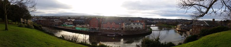 Exeter Quay Panoramic View England. Panorama of the Quay in Exeter, my home town in Devon. This historic city has a river running through it, now a popular Stock Images
